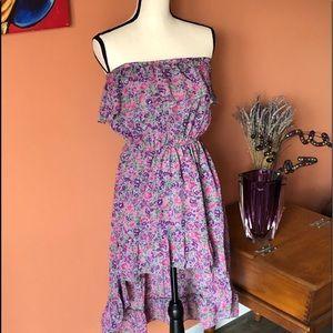 Strapless floral off the shoulder dress